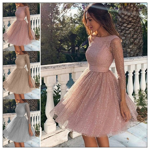Blush Pink Cocktail Dresses Short Lace