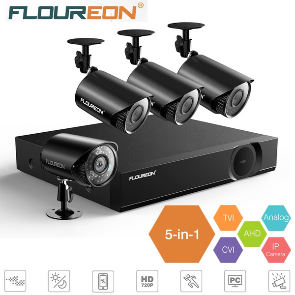 4CH 1080N 5IN1 DVR Outdoor Waterproof IR-CUT Camera Security System Motion Alarm