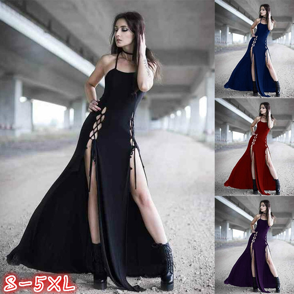 Gothic Style Women Fashion Sleeveless Slim Fit Casual Long Dress Side  Bifurcation Tuxedo Dress Halloween Female Vampire Cosplay Costume Dress  Plus ...