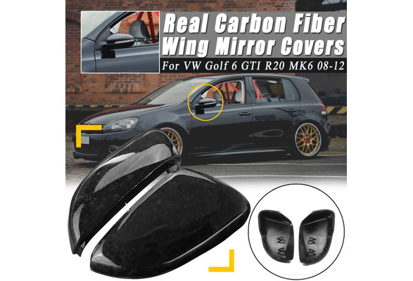 A Pair Real Carbon Fiber Wing Mirror Covers For Vw Golf 6 Gti R20 Mk6 2008 2012 Wish