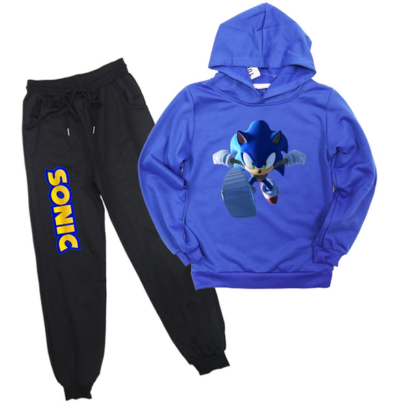 2019 New Arrival Sonic The Hedgehog Printed Children Clothes Set Boys Girls Casual Tracksuit Hoodies Harem Pants Wish