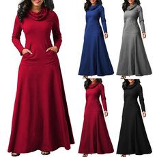 Women, Plus Size, Winter, long dress