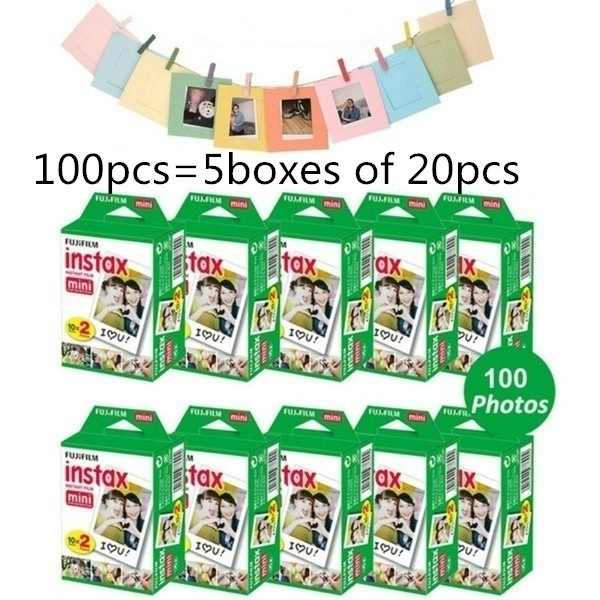 10 20pcs Instax Mini 8 9 Film  Instant Camera Instant Mini 8 9 7s 25 50s 90 Photo Paper White Film (100 Pcs You Need To Buy 5 Boxes Of 20 Pcs) by Wish