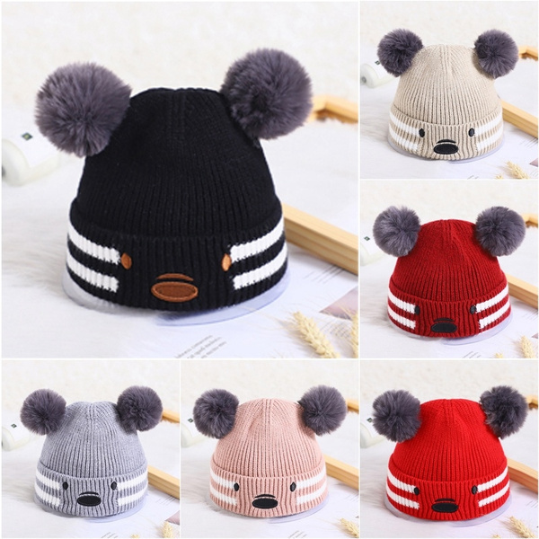 Hat Autumn Winter Hat Double Ball Crochet Knit Wool Hat Baby Hat Beanie Cap