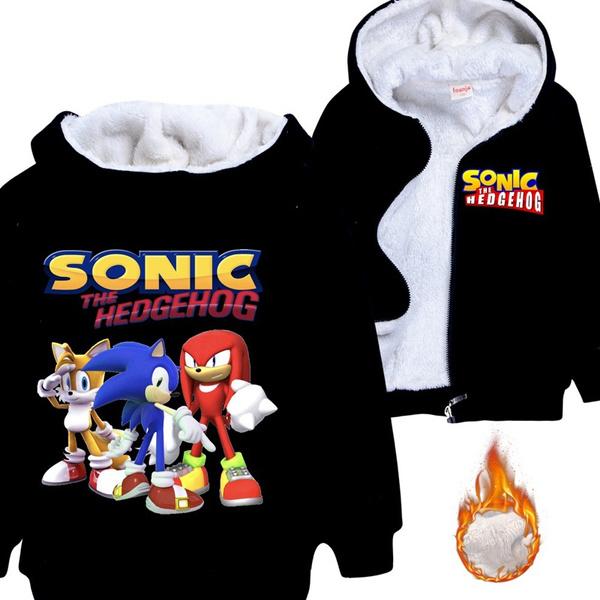High Quality Winter Warm Thickening Fleece Sonic The Hedgehog Printed Boys Girls Zipper Hoodies Coat Outwear Jacket Coats Wish