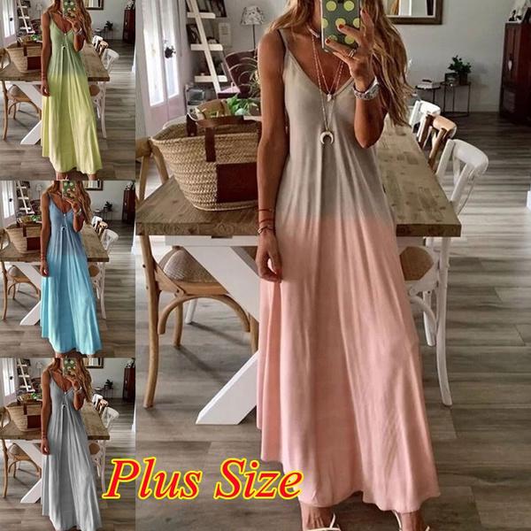 Plus Size, Tank, camisole, Deep V-neck Dress