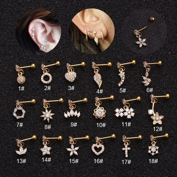 1pc Copper Cubic Zirconia Crystal Earring Dangle 16g Cartilage