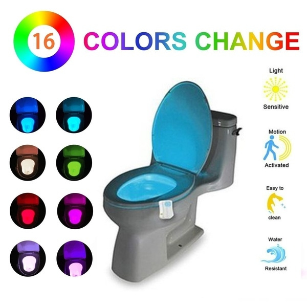 Unique Neon LED Glo-Bowl Motion Activated Toilet Night Light Bathroom Seat
