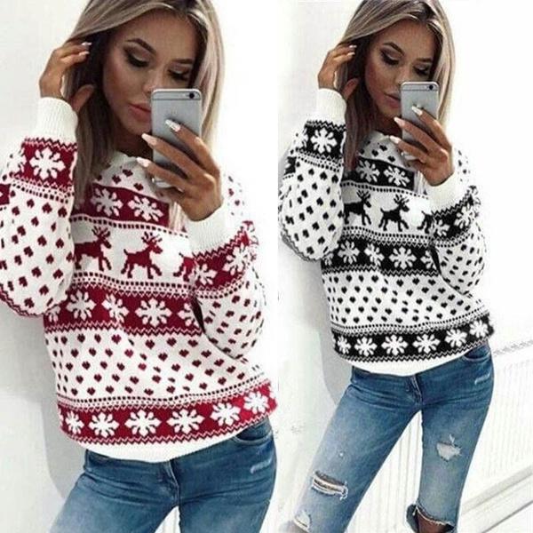 Women Christmas Snowflake Reindeer Jumper Oversized Knit Sweater Sweatshirt Fashion Chic Women Tops Plus Size Xs 8xl Wish