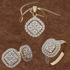 necklaceringearringsjewelry3set, goldringsforwomen, Bridal Jewelry Set, Classics