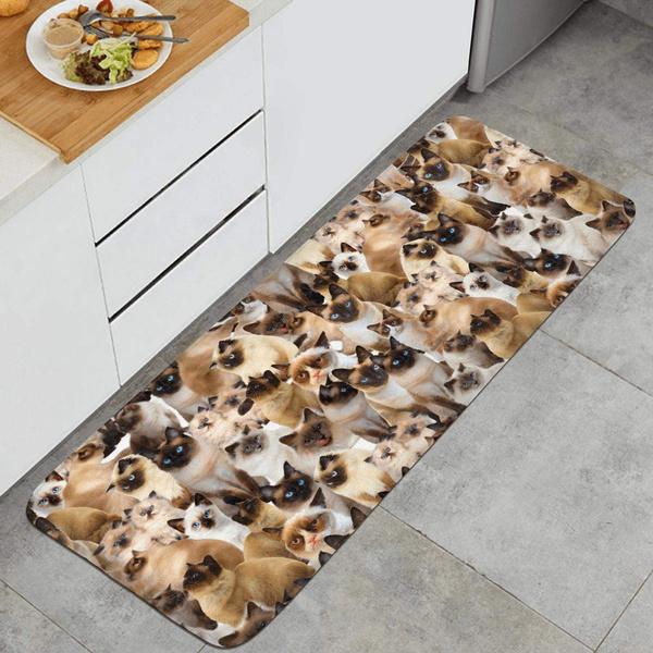 Siamese Cat Breed Floor Runner Rugs Long Kitchen Mat Kitchen Carpet  Non-slip Window Room Outdoor Mats Kitchen Rugs 15.7x47 Inch Extrance Mat