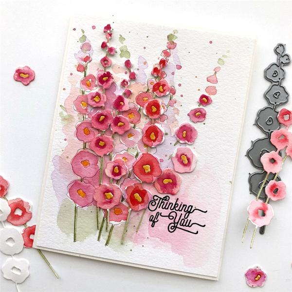 Hollyhocks Die Set Flower Metal Cutting Die Scrapbooking DIY Album Card Making