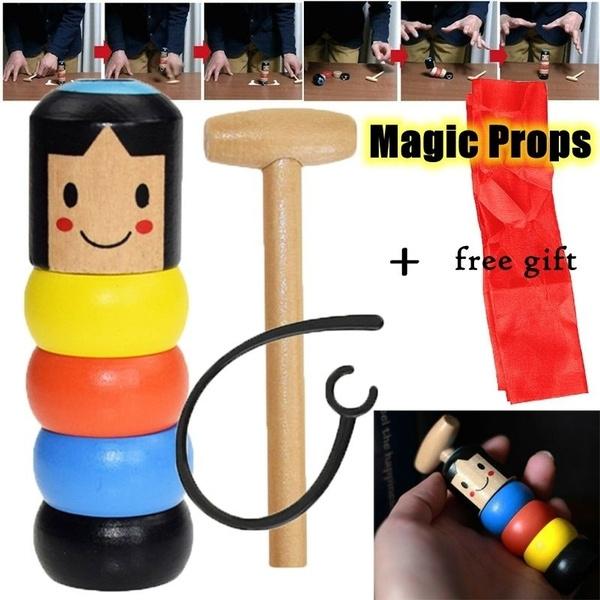 Wooden Man Magic Toy Stubborn Wood Man Magic Trick Props Kids Magia GiftX