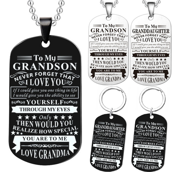 Grandma Grandpa To My Grandson Granddaughter Dog Tag Necklace Stainless Steel to