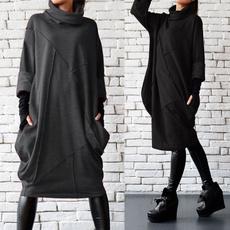 turtleneckdres, hooded, Long sleeved, Pullovers