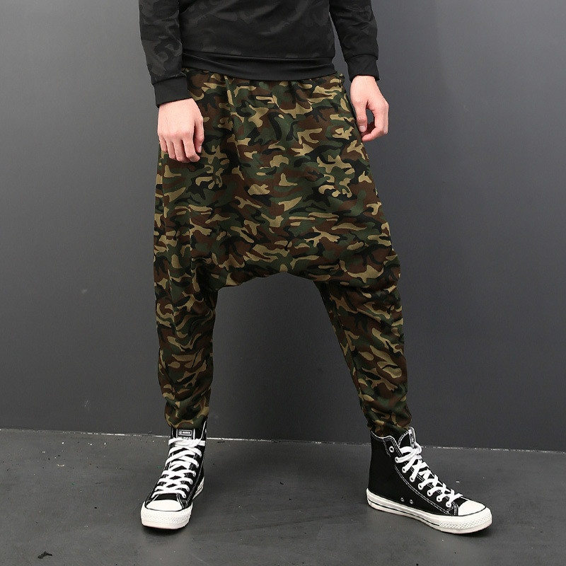 Men Camouflage Harem Pants Trouser Drop Crotch Baggy Loose Hippie Tapered Casual