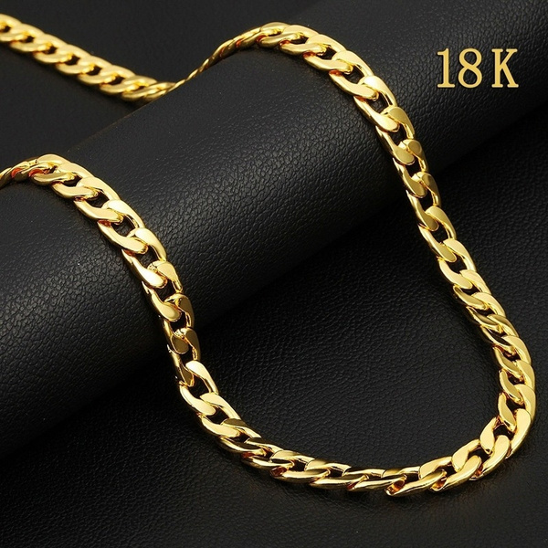 European Fashion Luxury Gold Chains For Men Women 18k Gold Plated Chain Necklace Bride Wedding Engagement Fine Jewelry Wish