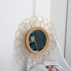 bohowickerhangingmirror, Home Supplies, Home Decor, Sunflowers