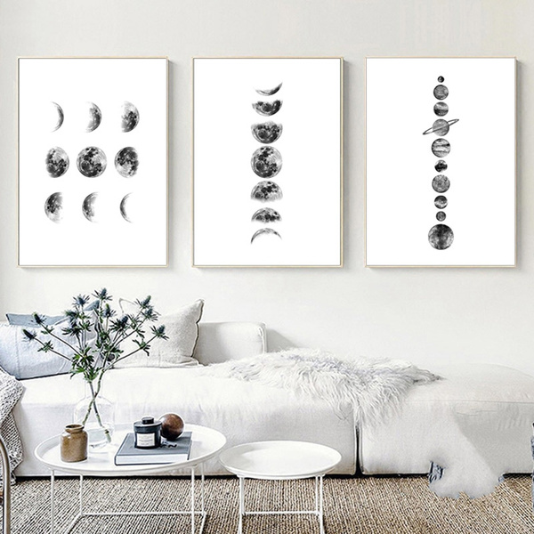 Moon Phase Canvas Poster Picture Prints Nordic Art Wall Painting Home Decor