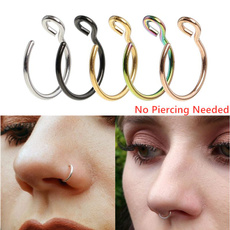circlenosestud, nosejewelry, fakeseptumnoseclip, Handmade