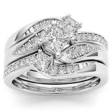 Sterling, Engagement Wedding Ring Set, Rose, gold