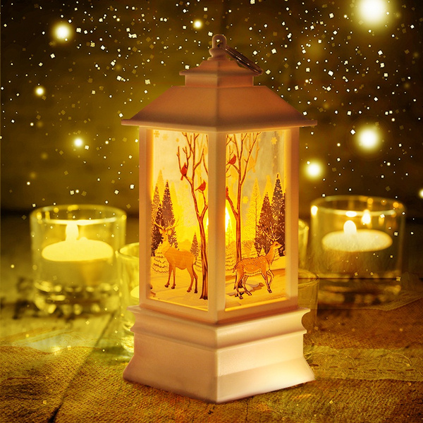 4pcs Christmas Home Decoration Lights New Year Party Snowman Golden Elk Angel Fairy Light Led Flame Hanging Lamp Lantern