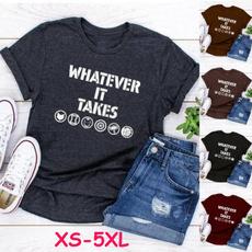 Fashion, Cotton T Shirt, letter print, short sleeves