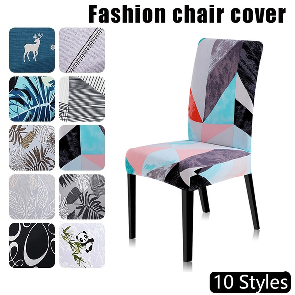 Printing Chair Cover Universal Size Stretch Polyester Chair Protector for Hotel Wedding Party Banquet Dining Room Home Decor