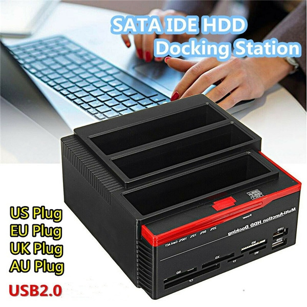 HDD Clone Dock Station Triple Bay 2.5//3.5/'/' SATA IDE USB Hard Drive Card Reader