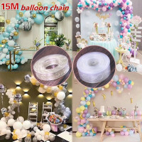 5M or 15M Balloon Arch DIY Decor Strip Connect Chain Plastic Tape Party Supplies