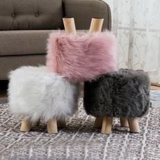 fur, Wooden, Stool, wintersupply