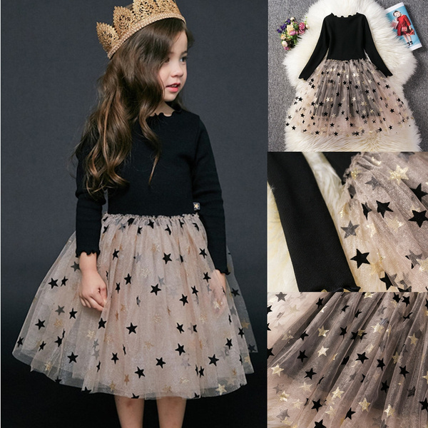 Kids Girls Dress Long Sleeve Star Tutu Tulle Princess Holiday Party Dresses New