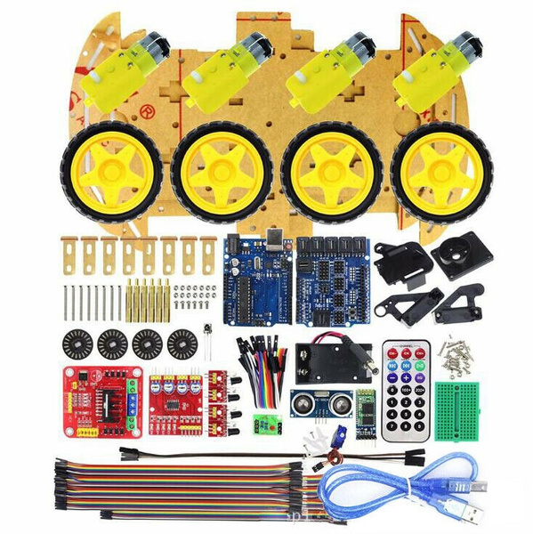 4WD Robot Car Kit IR Obstacle Avoid Line Follow L298N für