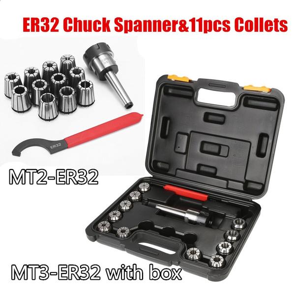 11pcs ER32 Collet Set MT3 Shank Chuck /& Spanner For CNC Milling Lathe Machine