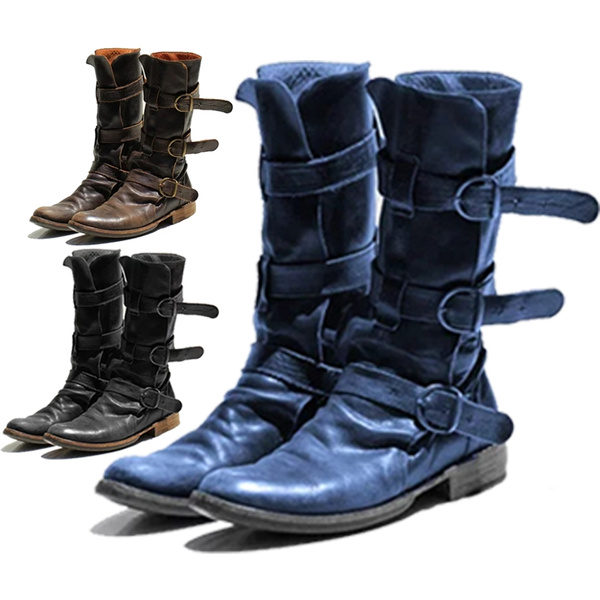 Womens Punk Motorcycle Cowboy Western Mid-Calf Boot Vintage Leather Buckle Shoes