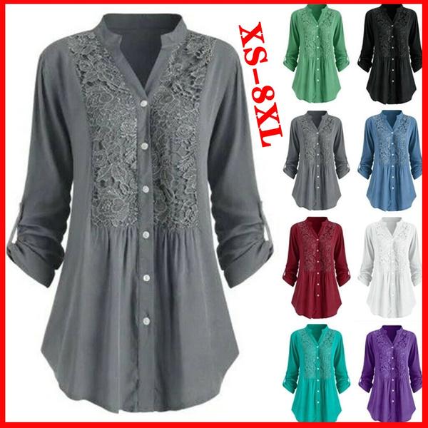 Splicing, Plus Size, Cotton T Shirt, Women Blouse