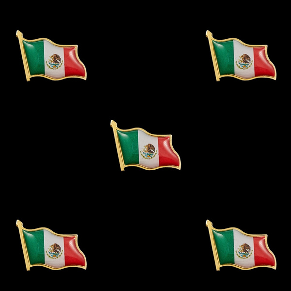 Mexico Country Flag Lapel Pin Enamel Made of Metal Souvenir Hat Men Women Patriotic Mexican Waving Flag Lapel Pin