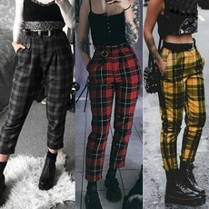 Women Pants, pencil, plaid, high waist