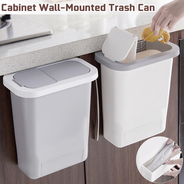 Hanging Trash Can Kitchen Cabinet Door Lid Wall-Mounted Waste Push-Top Room