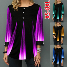 gradienttop, Plus size top, long sleeved shirt, Long Sleeve