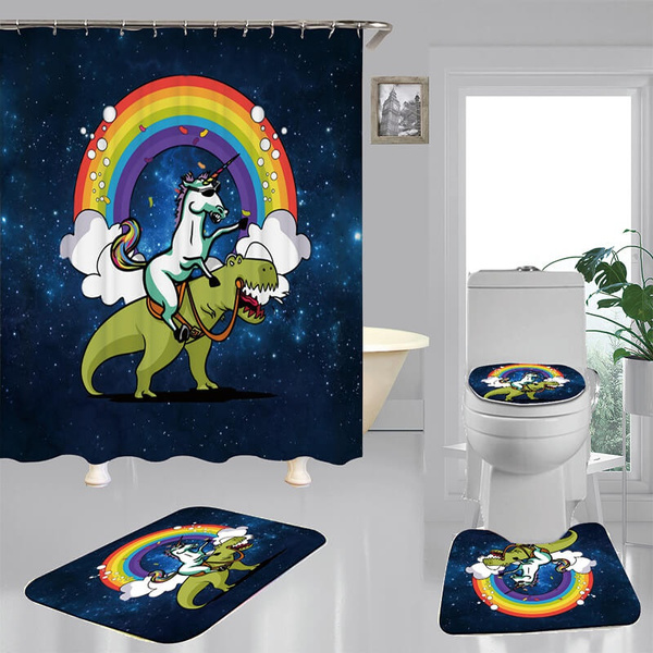 Cartoon Unicorn Shower Curtain Bath Mat Toilet Cover Rug Bathroom Decor Set