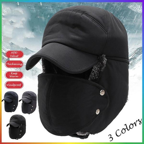 Mens Cotton Windproof Aviator Trapper Hat Winter Warm Ski Cap Face Mask Earflap
