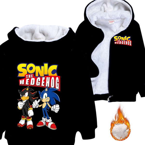 Winter Fashion Sonic The Hedgehog Printed Children Kids Thickening Fleece Casual Zipper Hoodies Coat Jacket For 3 14 Years Old Wish