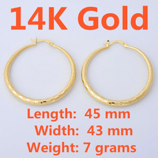 14kgoldearring, yellow gold, Hoop Earring, Jewelry