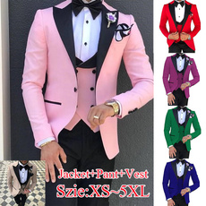 pink, lapel, Groom, jacketpantvest