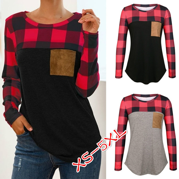 Women Round Neck Long Sleeve Patchwork Plaid Sweatshirt Pullover