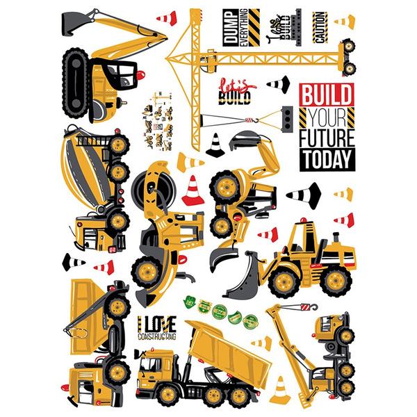 Cartoon Excavator Wall Decals Baby Boy Nursery Kids Room Stickers Home Decor New