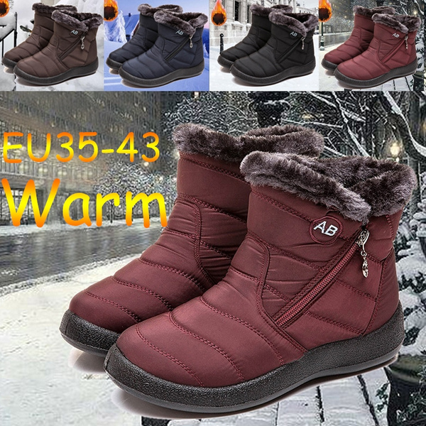 Women Winter Warm Snow Boot Ladies Short Boots Waterproof Cotton Shoes Nylon Zipper Ankle Boots