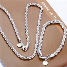 925silverjewelryset, Chain Necklace, Fashion, 1necklace1bracelet