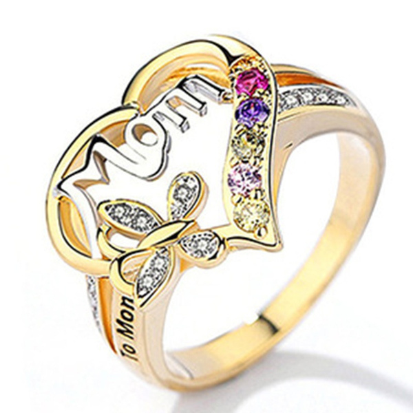 Fashion Women 18K Gold Plated Crystal Bridal Engagement Ring Gift Size 6//7//8//9